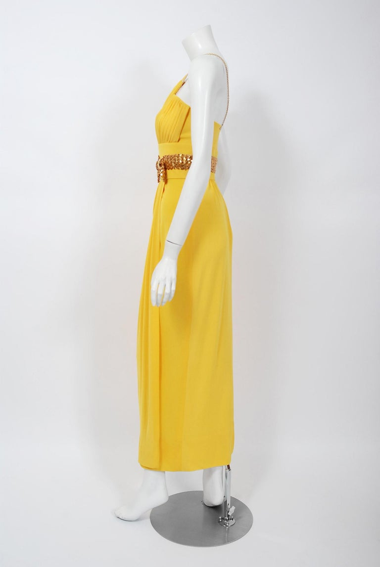 1970's Jacques Cassia Couture Yellow Jersey Metal One-Shoulder Draped Dress For Sale 2