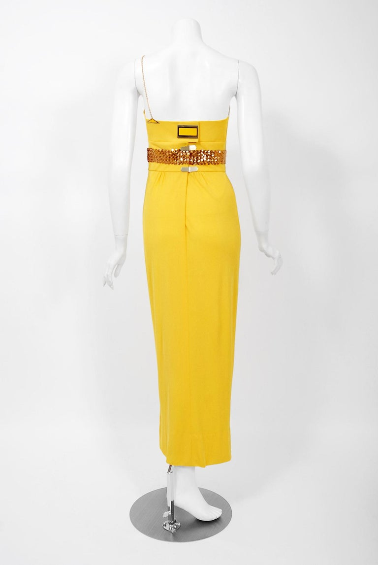 1970's Jacques Cassia Couture Yellow Jersey Metal One-Shoulder Draped Dress For Sale 3