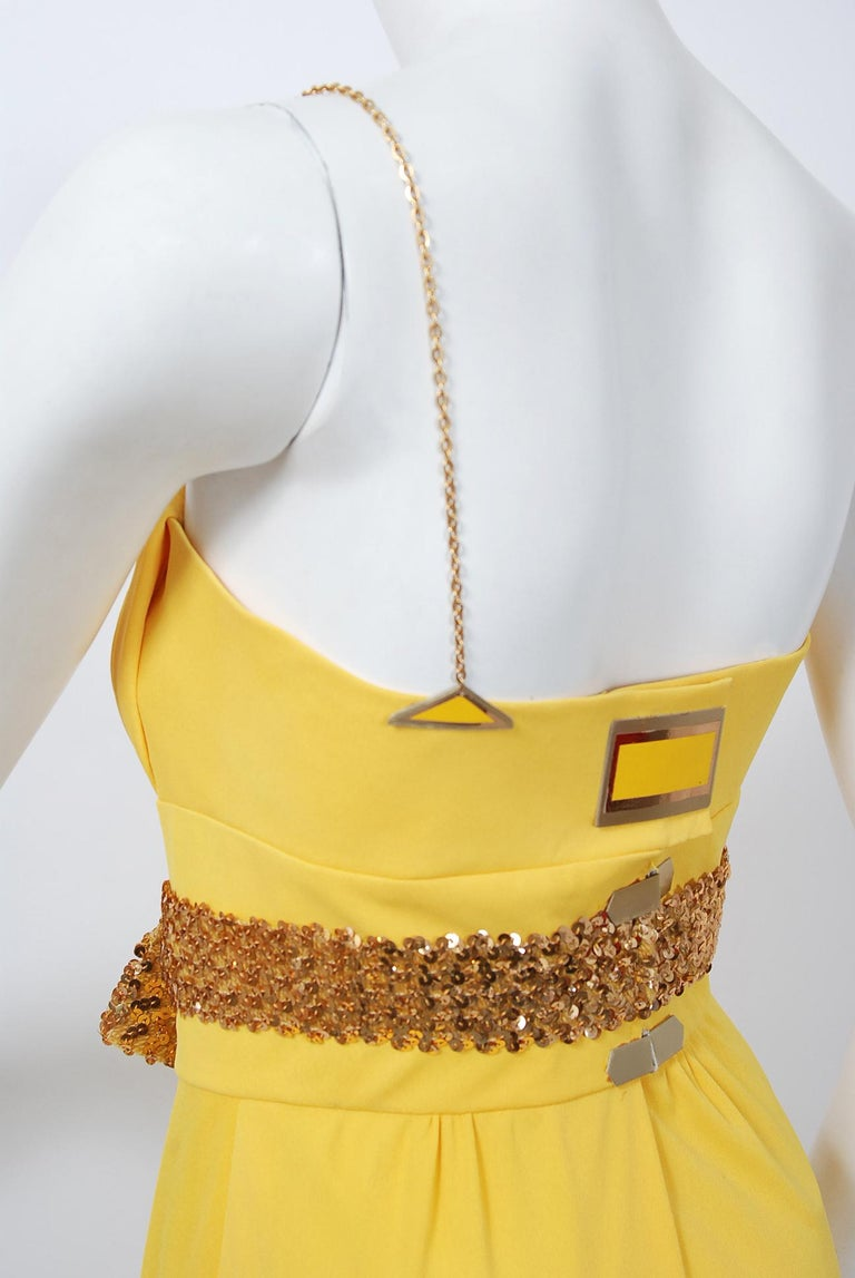 1970's Jacques Cassia Couture Yellow Jersey Metal One-Shoulder Draped Dress For Sale 4
