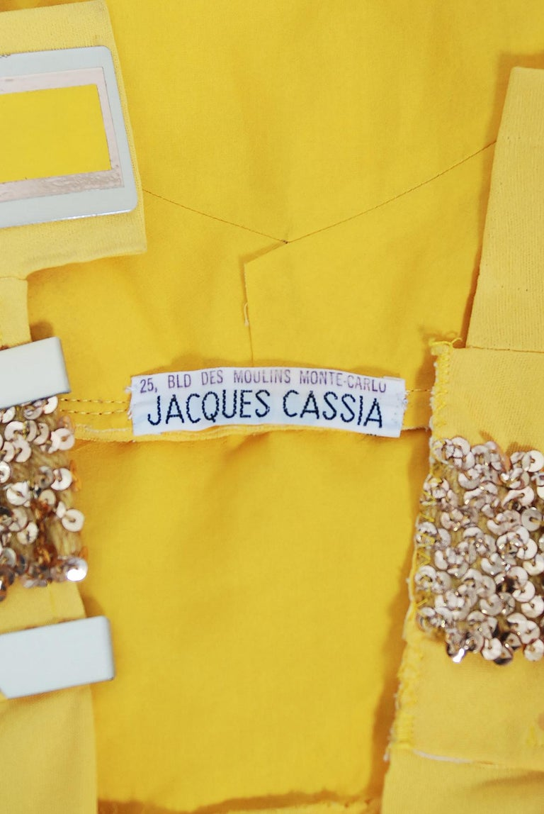 1970's Jacques Cassia Couture Yellow Jersey Metal One-Shoulder Draped Dress For Sale 5