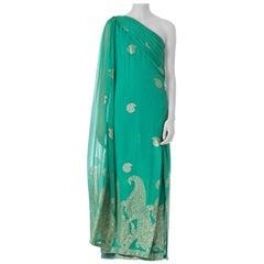 1970S JACQUES DE BERT Arsenic Green Haute Couture Silk & Lurex Chiffon Woven Wi