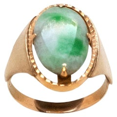 1970s Jade and Gold Signet Ring