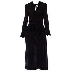 1970S JAEGER Black Rayon Jersey Ossie Clark Style Long Sleeve Dress