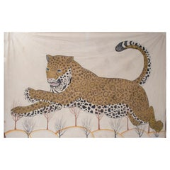 1970s Jaime Parlade Designer Hand Drawn cheetah on Canvas