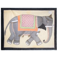 1970s Jaime Parlade Designer Hand Drawn Elephant on Canvas
