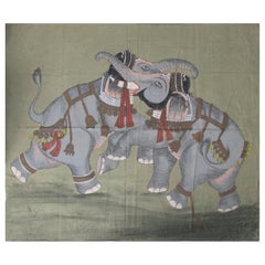 1970s Jaime Parlade Designer Hand Drawn Pair of Elephants on Canvas