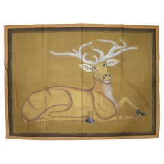 "1970s Jaime Parlade Designer Hand Painting ""Deer"" Oil on Canvas"