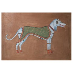 "1970s Jaime Parlade Designer Hand Painting ""Dog"" Oil on Canvas"