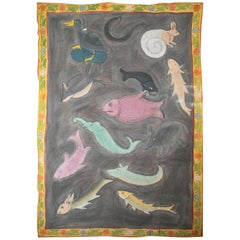 """1970s Jaime Parlade Designer Hand Painting """"Fishs and Animals"""" Oil on Canvas"""