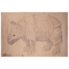 "1970s Jaime Parlade Designer Hand Painting ""Rhino"" Oil on Canvas"