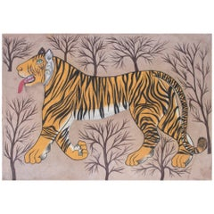 "1970s Jaime Parlade Designer Hand Painting ""Tiger"" Oil on Canvas"
