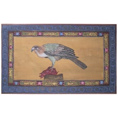 """1970s Jaime Parlade Designer Hand Painting """"Vulture"""" Oil on Canvas"""