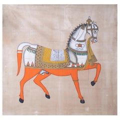 "1970s Jaime Parlade Designer Hand Painting ""Walking Horse"" Oil on Canvas"