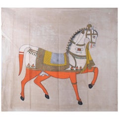 """1970s Jaime Parlade Designer Hand Painting """"Walking Horse"""" Oil on Canvas"""