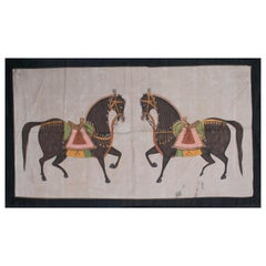 "1970s Jaime Parlade designer Hand Painting ""Walking Horses"" Oil on Canvas"