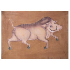 """1970s Jaime Parlade Designer Hand Painting """"Wild pig"""" Oil on Canvas"""
