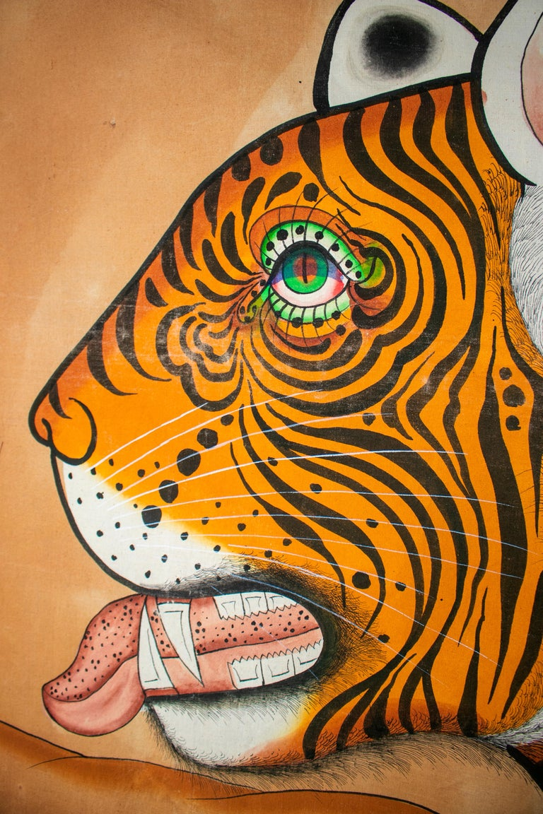 Hand-Painted 1970s Jaime Parlade Designer Huge Hand Drawn Tiger on Canvas For Sale