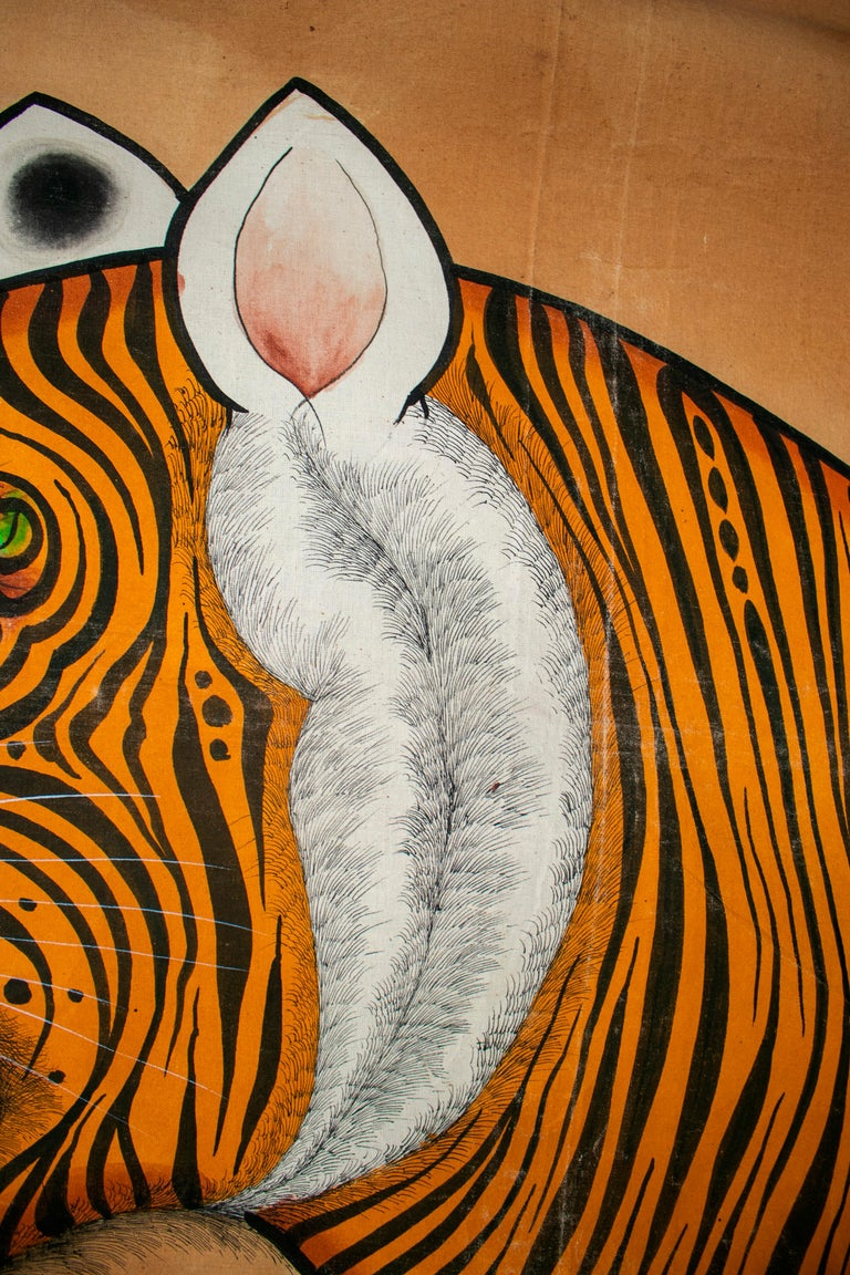 1970s Jaime Parlade Designer Huge Hand Drawn Tiger on Canvas In Good Condition For Sale In Malaga, ES