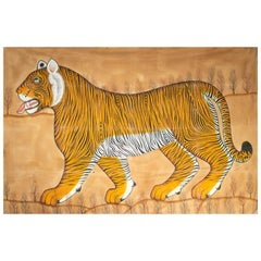 1970s Jaime Parlade Designer Huge Hand Drawn Tiger on Canvas