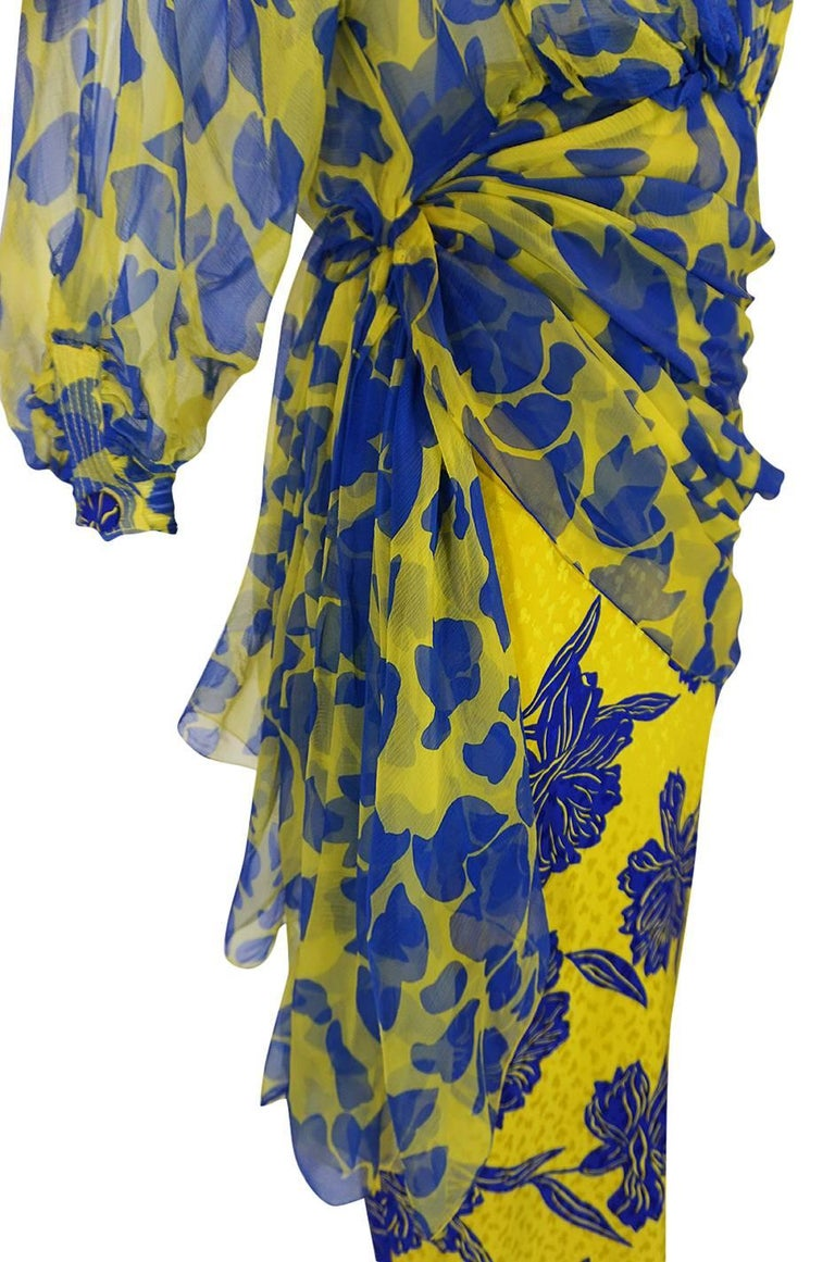 1970s James Galanos Couture Draped Printed Floral Silk Dress For Sale 5