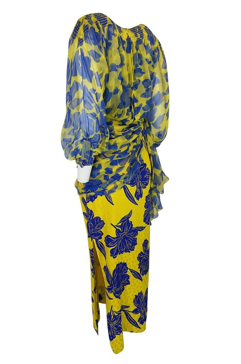 Women's 1970s James Galanos Couture Draped Printed Floral Silk Dress For Sale