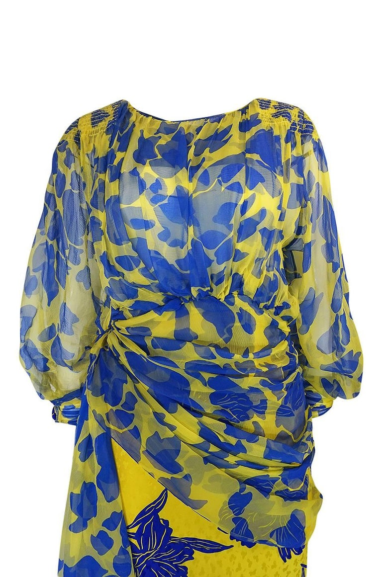 1970s James Galanos Couture Draped Printed Floral Silk Dress For Sale 1