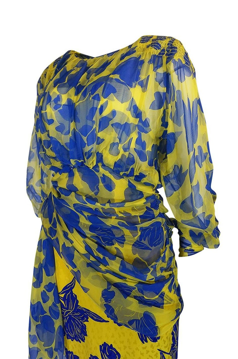 1970s James Galanos Couture Draped Printed Floral Silk Dress For Sale 2