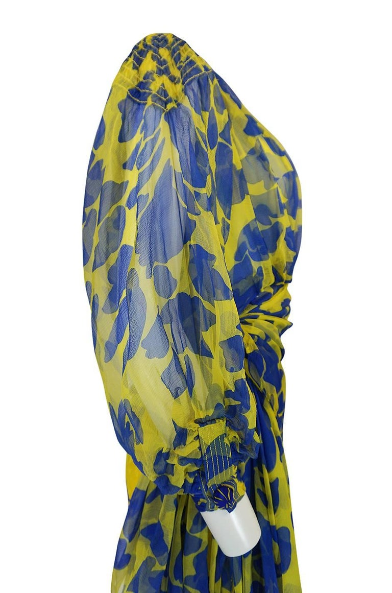 1970s James Galanos Couture Draped Printed Floral Silk Dress For Sale 3