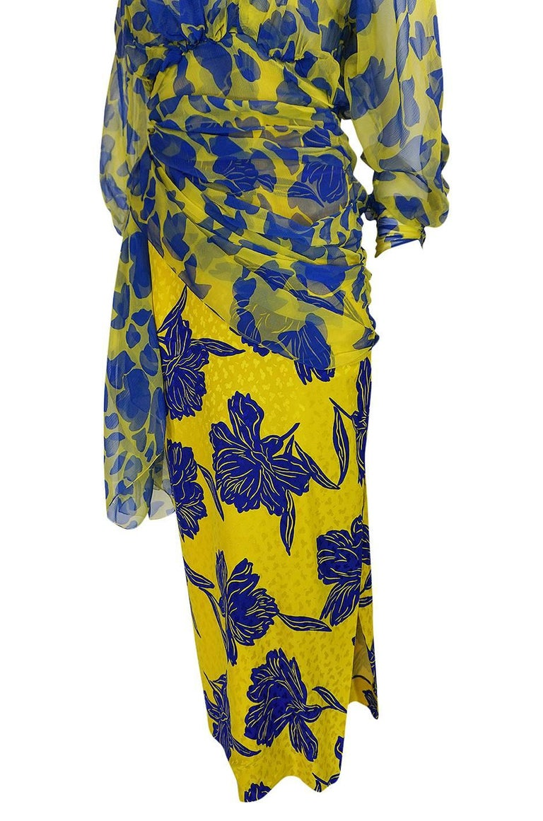 1970s James Galanos Couture Draped Printed Floral Silk Dress For Sale 4