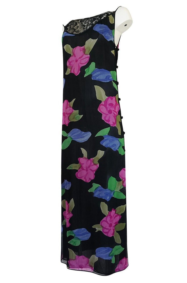 Women's 1970s James Galanos Floral Print Silk and Lace Inserts Dress For Sale