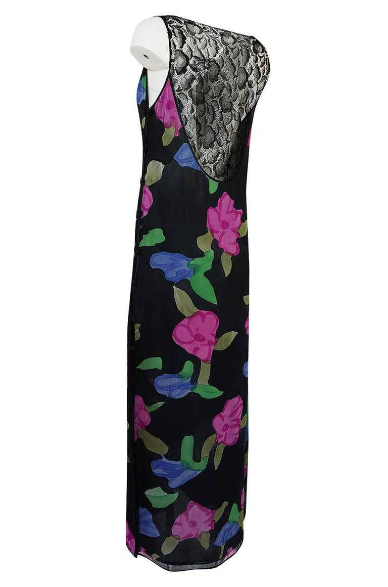 1970s James Galanos Floral Print Silk and Lace Inserts Dress For Sale 1