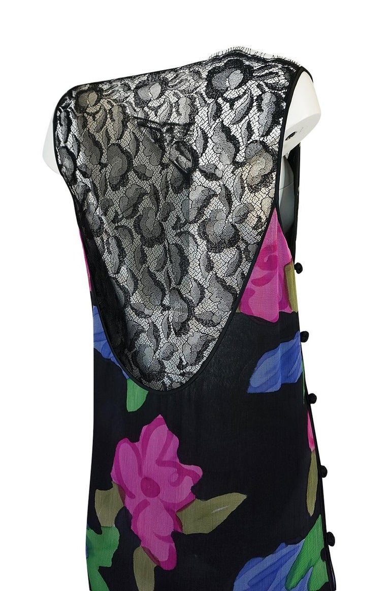 1970s James Galanos Floral Print Silk and Lace Inserts Dress For Sale 3