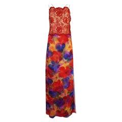 1970s James Galanos Metallic Red Lace and Printed Chiffon Dress and Pant Set