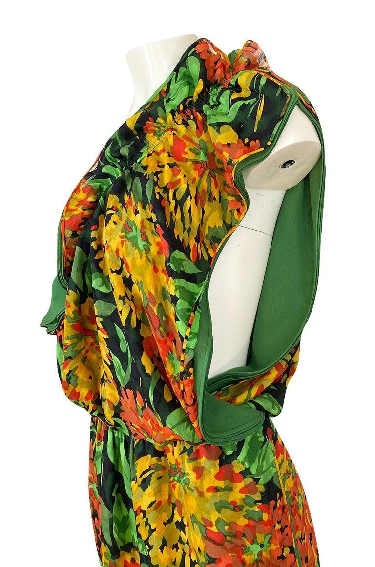 1970s James Galanos Open Back or One Shoulder Floral Silk Chiffon Dress For Sale 6