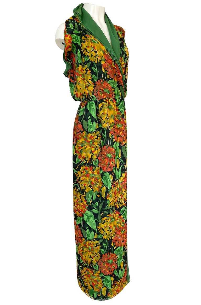 1970s James Galanos Open Back or One Shoulder Floral Silk Chiffon Dress In Excellent Condition For Sale In Rockwood, ON