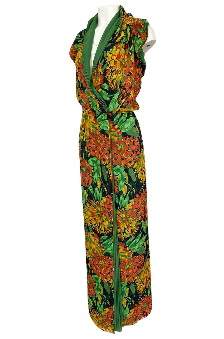 Women's 1970s James Galanos Open Back or One Shoulder Floral Silk Chiffon Dress For Sale