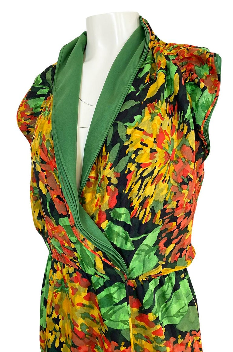 1970s James Galanos Open Back or One Shoulder Floral Silk Chiffon Dress For Sale 3