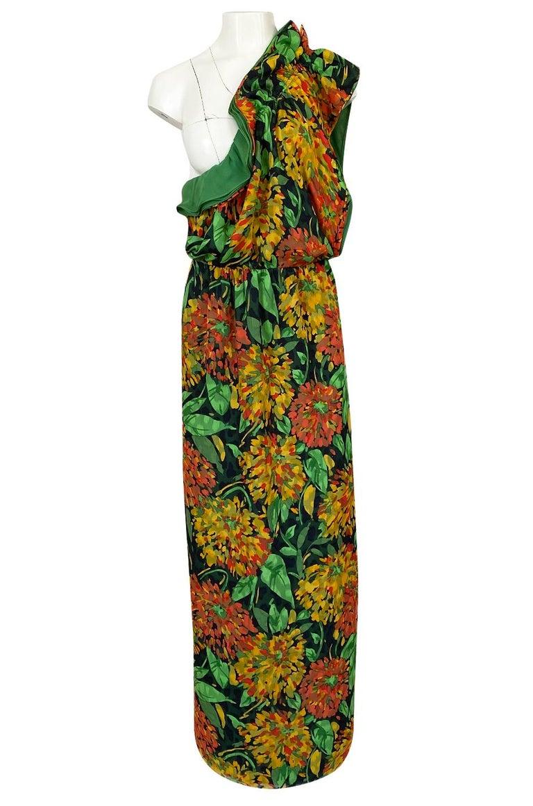 1970s James Galanos Open Back or One Shoulder Floral Silk Chiffon Dress For Sale 4