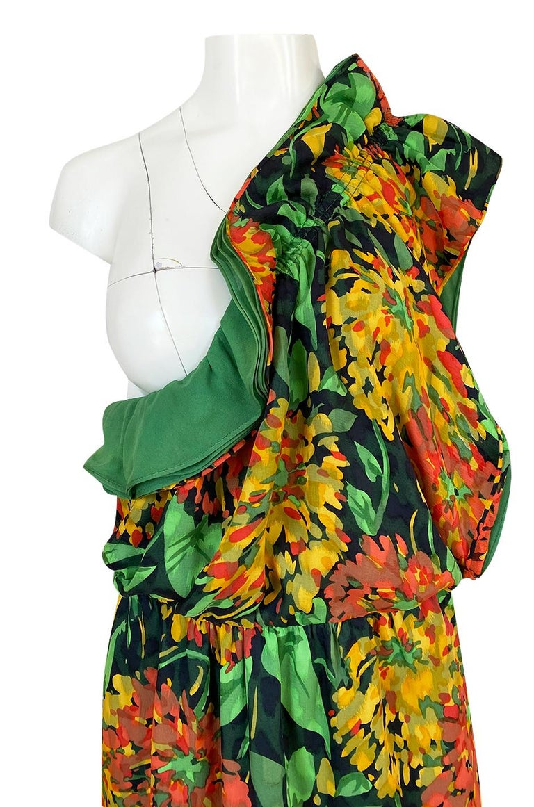 1970s James Galanos Open Back or One Shoulder Floral Silk Chiffon Dress For Sale 5