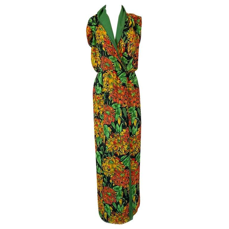 1970s James Galanos Open Back or One Shoulder Floral Silk Chiffon Dress For Sale