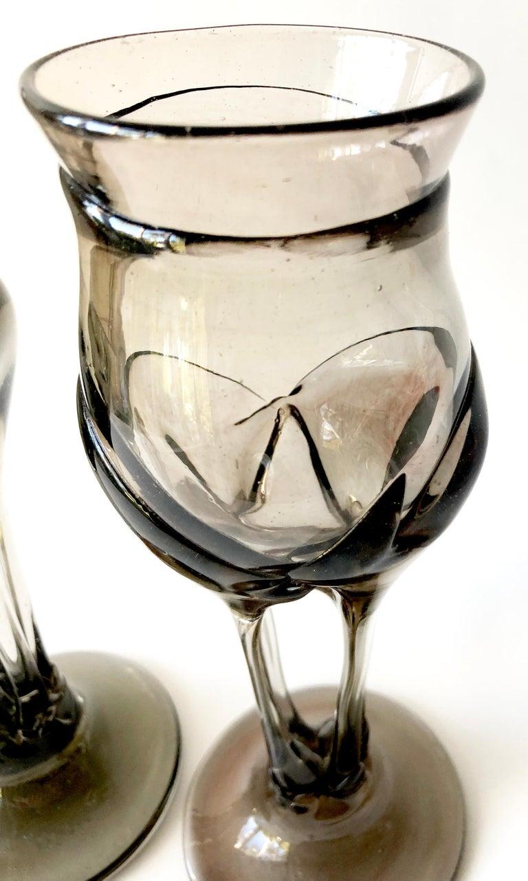 American 1970s James Wayne Organic California Modern Studio Glass Goblets For Sale
