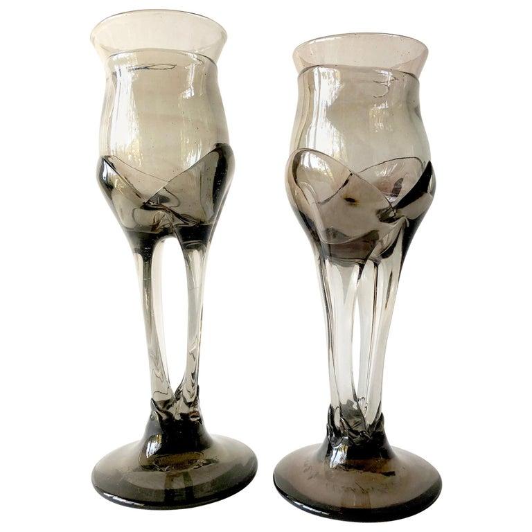1970s James Wayne Organic California Modern Studio Glass Goblets For Sale