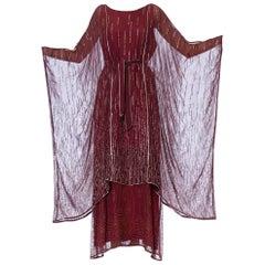 1970S JANICE WAINWRIGHT Maroon Rayon Chiffon Goddess Sleeve Kaftan Style Gown W