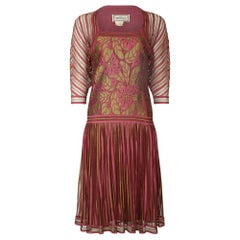 1970s Janice Wainwright Pink and Gold 1920s Style Flapper Dress