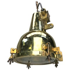 1970s Japanese Brass Marine Nautical Searchlight Pendant Lamp, Edison E26/E27