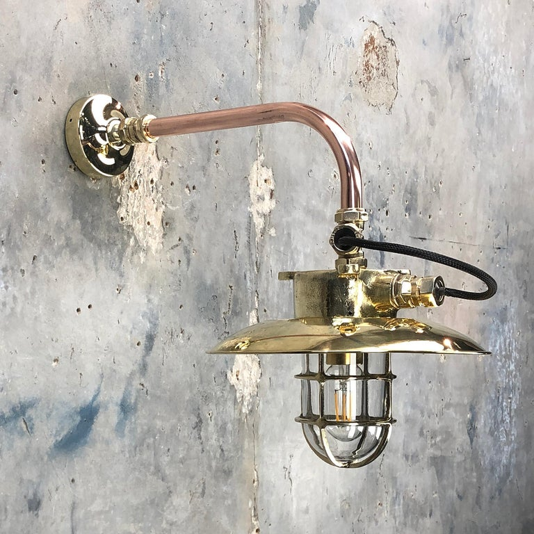 1970s Japanese Cast Brass and Copper Explosion Proof Caged Cantilever Wall Light For Sale 7