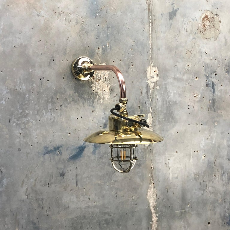 1970s Japanese Cast Brass and Copper Explosion Proof Caged Cantilever Wall Light For Sale 10
