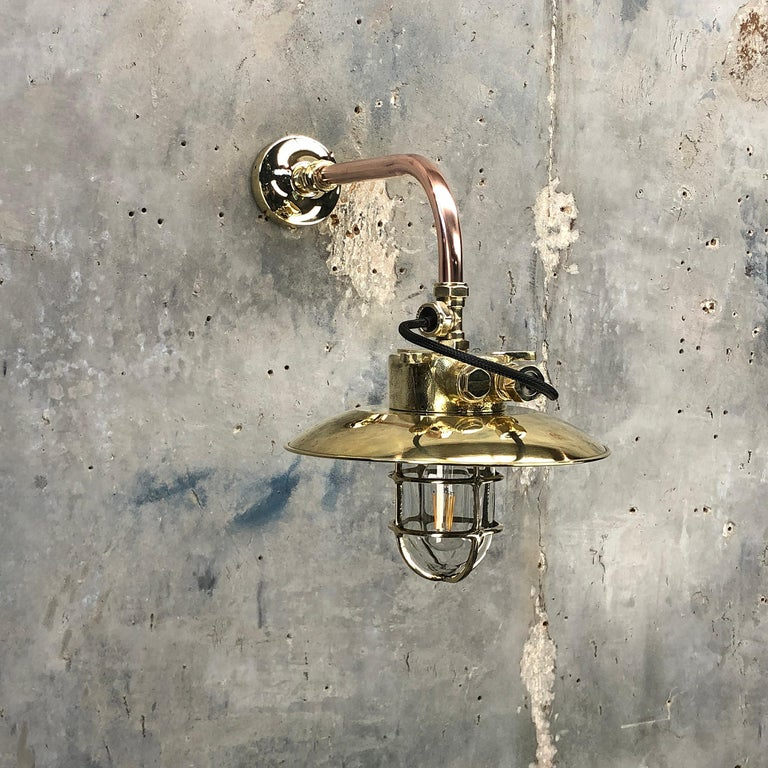 1970s Japanese Cast Brass and Copper Explosion Proof Caged Cantilever Wall Light For Sale 11