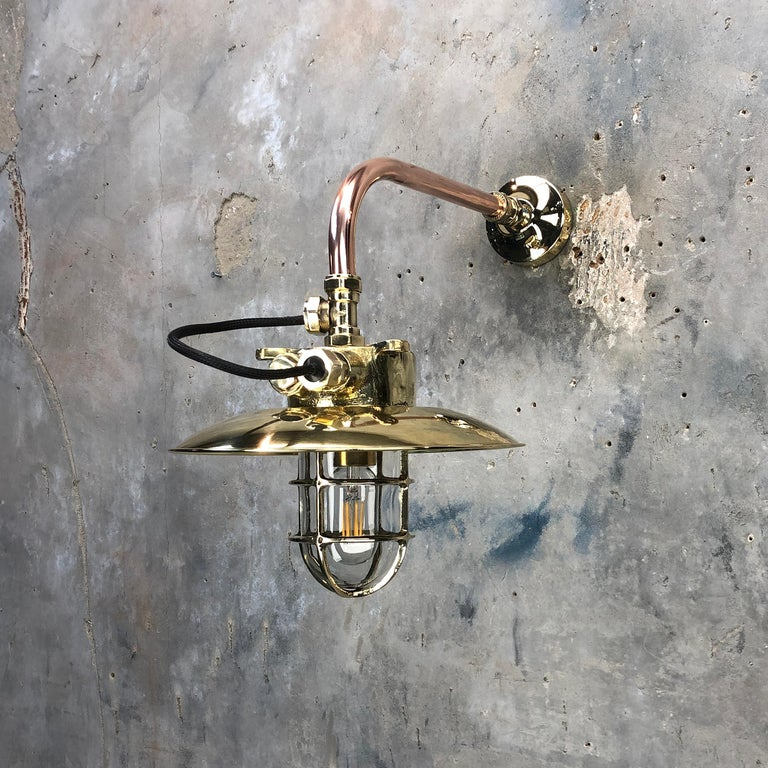 Late 20th Century 1970s Japanese Cast Brass and Copper Explosion Proof Caged Cantilever Wall Light For Sale