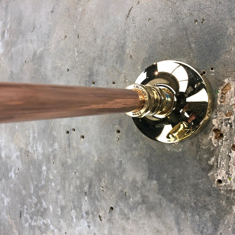 1970s Japanese Cast Brass and Copper Explosion Proof Caged Cantilever Wall Light For Sale 1